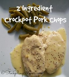 2 Ingredient Crockpot Pork Chops is the easiest slow cooker recipe ever!