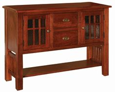 Amish Dining Room Sideboard with Two Drawers - Oak Wood - This sideboard is made in solid oak wood as a standard, and can be upgraded to brown maple, cherry or quartersawn oak wood for an upcharge.  Along with the wood choices we also have a wide variety of finish options available.