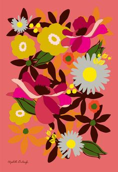 This flower print is dynamic in color and size! With a lovely coral colored background and hues of golds and browns, this print is versatile and