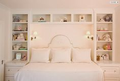 Courtney Hill Interiors: Pretty pink girl's room with white built-in cabinets & shelves, white silk damask .Get inspired by Courtney Hill Interiors The best Texas interior design ideas Home Bedroom, Girls Bedroom, Master Bedroom, Bedroom Decor, Girls Daybed, Bedroom Ideas, Bedroom Small, Bedroom Inspiration, Hemnes Day Bed