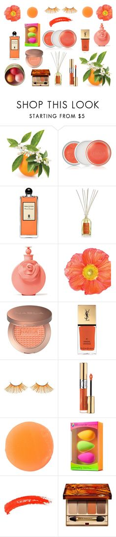"""""""Orange Blossom"""" by fashion2religion ❤ liked on Polyvore featuring beauty, Clinique, Serge Lutens, Antica Farmacista, Valentino, Yves Saint Laurent, Zelens, beautyblender, Topshop and Clarins"""