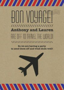 Bon Voyage Farewell Printable Invitation by HerringboneDesign