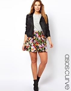 Enlarge ASOS CURVE Skater Skirt In Floral RUB813