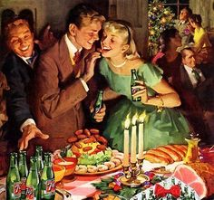 9 Festive Holiday Party Themes Here are 9 holiday party themes to get you into the holiday spirit. Vintage Christmas Party, 1950s Christmas, Vintage Christmas Images, Noel Christmas, Vintage Holiday, Christmas Pictures, Christmas Buffet, Christmas Decor, Holiday Images