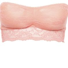 This super feminine lace bandeau features a stretchy lace body with padded cups, front ruching, boning along the sides, five rows of hook and eye, and adjustable and removable bra straps. Color: Coral