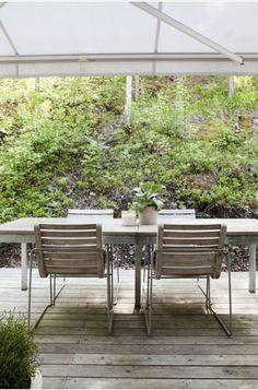 garden table - modern chairs....