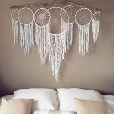 "50"" White Bohemian Dream Catcher Wall Hanging Boho Wedding Dreamcatche – eRummagers"