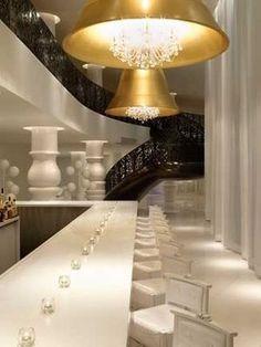 Statement brass + crystal fixtures. Mondrian Hotel - South Beach, Miami.