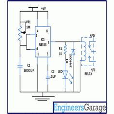 "Circuit Diagram for Bathroom Light Off Timer. When anybody wants to use the bathroom, it will press the switch momentarily. As soon as switch is pressed, relay gets energized and switches ""on"" the light connected to the relay. Electronics Engineering Projects, Electronic Engineering, Electrical Engineering, Dc Circuit, Circuit Diagram, Electronic Schematics, Electronics Components, Home Automation, Arduino"