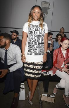 "Cosmopolitan's fashion market director wears powerful ""They Have Names"" t-shirt to #NYFW"