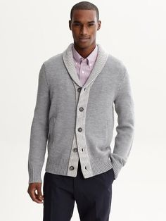 Banana Republic The Mad Men Collection Tipped Shawl Collar Cardigan
