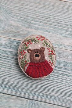 Brooch Winter bear - buy or order in an online shop on Livemaster Christmas Embroidery Patterns, Hand Embroidery Stitches, Embroidery Hoop Art, Vintage Embroidery, Beaded Embroidery, Cross Stitch Embroidery, Hand Embroidery Designs, Embroidery Online, Indian Embroidery