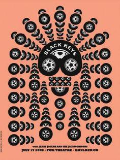 Original concert poster for The Black Keys in Boulder, CO.