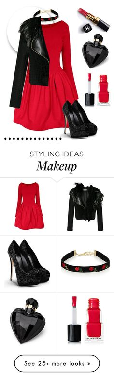 """""""Red&Black"""" by swishswish on Polyvore featuring Chanel, Lanvin, Giuseppe Zanotti, Lipsy and Burberry"""