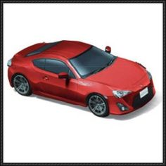 This paper car is a red Toyota 86 (Subaru BRZ), a sports car developed jointly by Japanese automobile manufacturers Toyota and Subaru, the papercraft creat Free Paper Models, Paper Car, Toyota 86, Subaru, Automobile, Paper Crafts, Red, Paper Templates, Motor Car