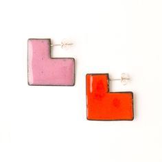 'Enfold' earrings - square Red & Pink (double sided so that the same colour faces outwards) vitreous enamel, copper & sterling Silver Vitreous Enamel, Square Earrings, Red And Pink, Cufflinks, Copper, Faces, Victoria, Jewellery, Sterling Silver