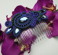 Weiteres - Smaragd&blau Stirnkamm kamm SOUTACHE - ein Designerstück von Soutacheria bei DaWanda
