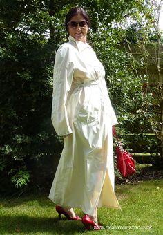 Adorable Hayley in her white full length mackintosh. Rubber Catsuit, Stunning Brunette, Raincoats For Women, Hot Brunette, Vintage Magazines, Rain Wear, Brunettes, Get Dressed, Kinky