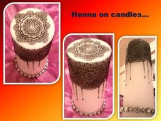 Henna on candles with jewels
