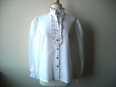 Vintage White Ruffle Blouse by Baxtervintage on Etsy, $24.00