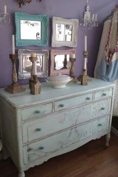 so pretty...love the color of the dresser~