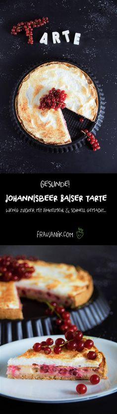 Gesunde Johannisbeer Baiser Tarte- Wenig Zucker, mit Dinkelmehl & schnell gemacht...Mit einer leckeren Käsekuchenfüllung aus Magerquark. Sieht komplizierter aus als es ist! Außerdem erkläre ich euch die Bedeutung der Mehltypen.