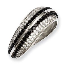 .925 Sterling Silver Black Clear CZ Swirl Ring Silver Jewelry Available Exclusively at Gemologica.com