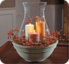 Fall centerpiece idea - ceramic bowl with candles and faux berries - Beautiful for autumn decorating Decoration Plante, Decoration Table, Fall Home Decor, Autumn Home, Autumn Fall, Winter, Thanksgiving Decorations, Seasonal Decor, Holiday Decorations