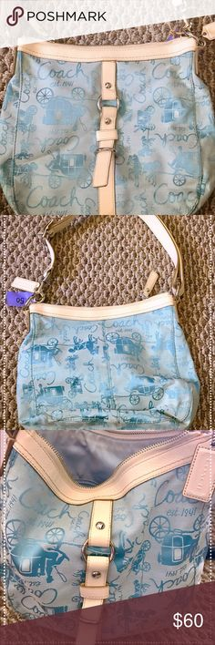 COACH purse!!! Blue & white!!! This purse is perfect for spring or summer wear! In good condition Coach Bags Shoulder Bags