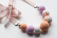 Pink Chunky necklace, Modern Statement necklace, Pastel jewelry, Peach Beaded necklace, Polymer Clay jewelry, Ribbon necklace, Urban jewelry
