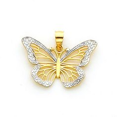 14Kt Two-tone solid gold Filigree & Diamond Cut Accent Butterfly Pendant. Measures 5/8 x 6/8 Beautiful white gold surrounding the wings makes the