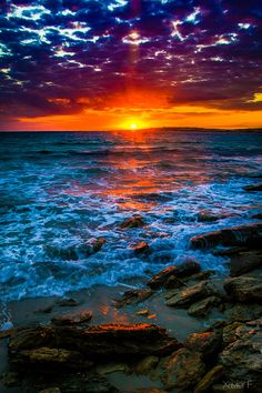 Sunset Sunrise Just plain beautiful! is part of Sunset - Beautiful World, Beautiful Places, Landscape Photography, Nature Photography, Contemporary Photography, Beautiful Sunrise, Beautiful Ocean, Sunset Beach, Red Sunset