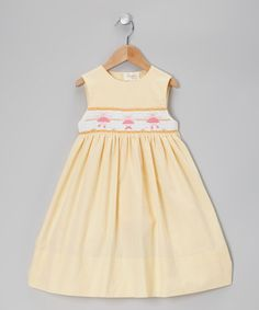 Take a look at this Yellow Seersucker Ballerina Smocked Dress - Toddler & Girls by Rosalina on #zulily today!