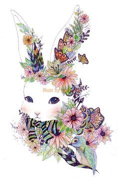ㄹ Rabbit Drawing, Creative Play, Painting Patterns, Tattoo Images, Needlework, Pattern Design, Bunny, Watercolor, Embroidery