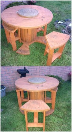 cable spool tables 30 DIY Pallet Outdoor Furniture You Need to See, Diy Cable Spool Table, Wood Spool Tables, Cable Spool Ideas, Cable Reel Ideas Garden, Cable Reel Table, Wood Spool Furniture, Pallet Patio Furniture, Diy Furniture, Furniture Layout