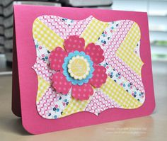 gorgeous handmade card ... washi tape laid down in the herringbone quilting pattern ... die cut label from that sheet ... rich pink card base and big die cut flower ... beautiful card ... Stampin' Up!