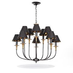 Vintage Chandelier, 10 Light, Classic Fabric Metal Painting – USD $ 329.99