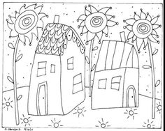 Rug Hook Paper Pattern 2 Houses Folk Art Abstract Modern Karla G Folk Embroidery, Paper Embroidery, Embroidery Patterns, Pattern Paper, Pattern Art, Colouring Pages, Coloring Books, Coloring Sheets, Zentangle