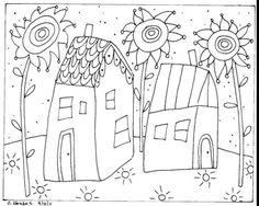 Rug Hook Paper Pattern 2 Houses Folk Art Abstract Modern Karla G