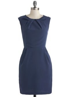 Glancing in the Moonlight Dress - Mid-length, Blue, Solid, Pockets, Work, Sheath / Shift, Sleeveless, Crew, Minimal