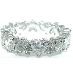 Close up pic So Pretty! 5.08 ct. Heart Shape Diamond Platinum Eternity Band.