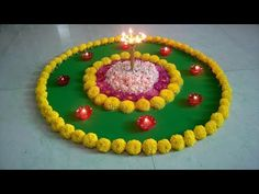 Marigold Flowers Decoration For Diwali Special Easy Rangoli Designs Diwali, Rangoli Designs Flower, Free Hand Rangoli Design, Small Rangoli, Colorful Rangoli Designs, Flower Rangoli, Beautiful Rangoli Designs, Diwali Flowers, Flower Designs