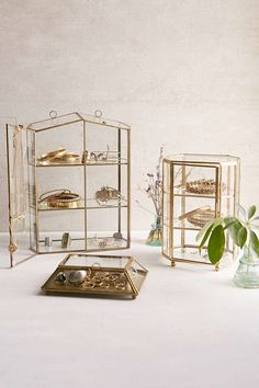 Glass House and Glass Octagon Display Box in bronze.