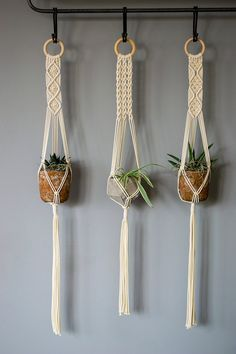 These handmade and beautiful macrame plant hangers are made of a ecru colored natural cotton cord. The cotton cord is made of natural fibers and is 1/8 inch thick. I have searched long and hard to find the best cotton cord available, after trying every single supplier I have found a local family owned german rope factory that makes the highest quality cotton rope. Recommended pot size is aproximately 4-5inch in diameter and 3-4inch tall. The hanger is aproximately 95cm / 38 inch i...
