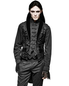Punk Rave Mens Waistcoat Vest Tailcoat Black Damask Gothic Steampunk Regency | eBay