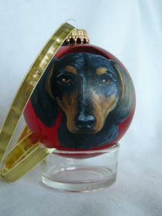 Dachshund Dog Portrait,  Pet Portrait, Christmas Gift Ornament,