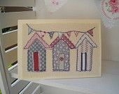 Beach Hut Blank Card, Handmade Textile Card,