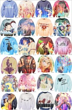 Amazing Disney inspired sweaters. I want them all! - Disney - Peter Pan - Beauty and the Beast - UP - tangled - snow white - toy story - princesses - mary poppins - lion king