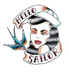 tattoo old school disegni, il volto di una donna che fa l'occhiolino, una rondine e delle scritte