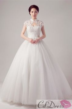 High Neck Tulle and Lace Ball Gown Wedding Dress - Ball Gown Dresses - Wedding Dresses - CDdress.com